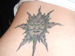 Many people choose the sun tattoo design because the sun signifies life and