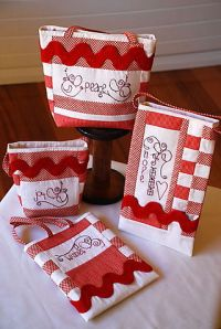 Peace, Hope, Wishes and Joy a sweet set of four Christmas Gift Bags in red