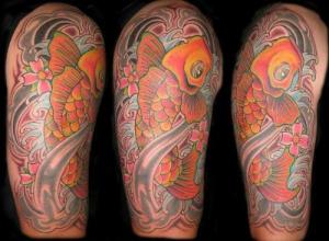 Asian Koi Fish Half Sleeve Tattoo