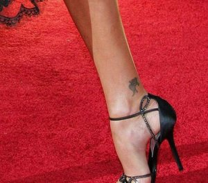 Charlize Theron Koi Fish Tattoo Designs Above Right Ankle