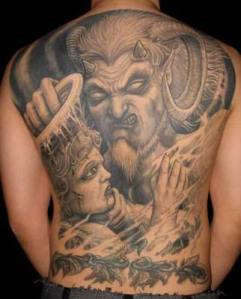 The devil tattoo offers a symbolism of fear and evil.
