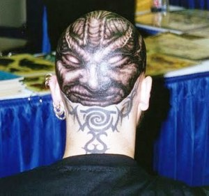 Hair Tattooing : jesus on the bald head , tattoos ideas