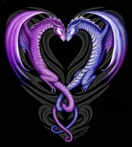 Two dragons forming a heart symbol tattoo. Dragon Tattoo