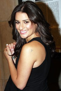 lea michele shoulder tattoos with simple tattoo designs