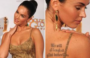 A Megan Fox tattoo can be seen in tattoo galleries online. Some sites