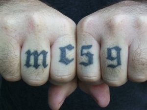 It's an interesting and unusual take on the knuckle tattoo.