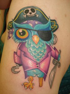 Unknown pirate owl. Labels: hand owl tattoo, owl feet, owl tattoo design
