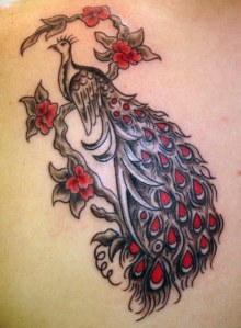 Red and Black Peacock Tattoo