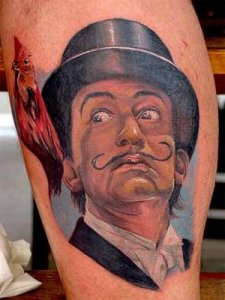 My first tattoo the day after it was done, Its Salvador Dali ants with his