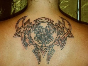 Celtic Shamrock-Tribal back piece tattoo read more