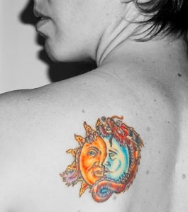 shoulder · sun, moon and dragon tattoo