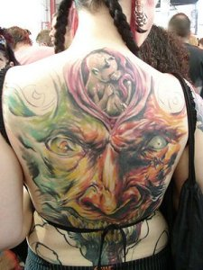 apanese Tattoo - Full Color Upper Or Lower Back Tattoo Art Design