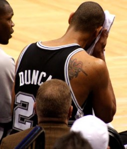 Tim Duncan has two visible tattoos on his body, one being a jester located