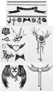All of the tattoo's cost just £6.50 apart from the one on the bottom right