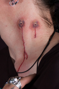 The first Vampire Bite tattoo looks realistic with the bruising and