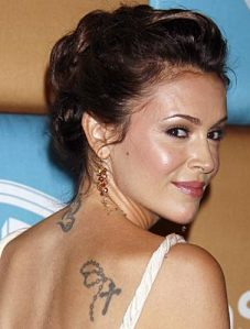 Alyssa Milano Cross Tattoo