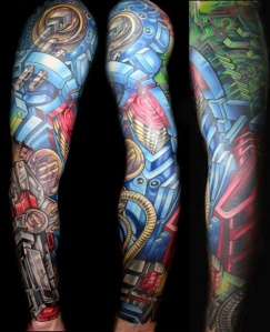 Robotic arm tattoo sleeve for guys.