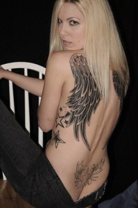 back angel wings tattoo
