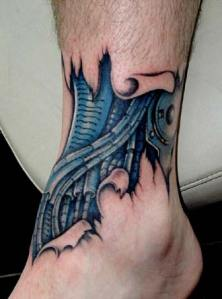 Biomechanical tattoos are amazingly realistic designs which combine elements