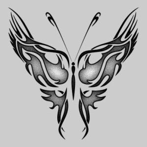 Swallow bird tattoo and butterfly tribal tattoo.
