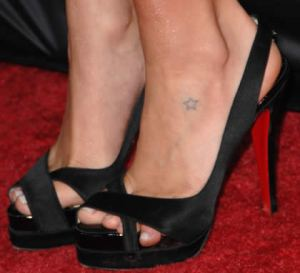 Kristin Cavallari small star tattoo on foot.