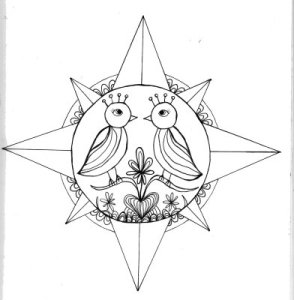a compass-like circle around it. The real-life tattoo will be in color!