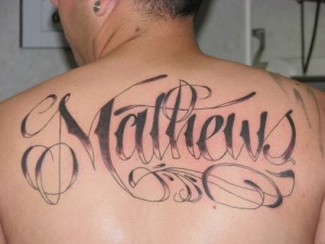 "Tattoo Fonts Style on "" Back and Side "" Body"