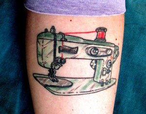 Arm tattoo designs - My sewing machine tattoo design
