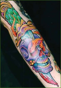 Full Color Tattoo designs On Sleeve Sexy Girls Full Color Skull Tattoo