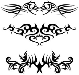 Tattoos on the lower back or spine of
