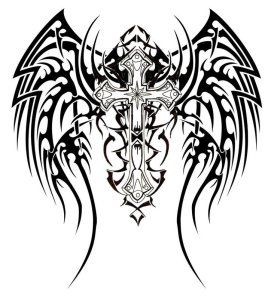 tribal wings and cross tattoo designs