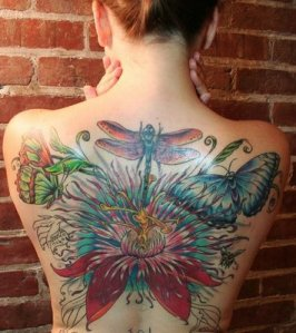 A 24 Hour Guinness World Tattoo Beautiful Dragonfly, Butterfly and Flower